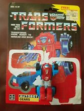Transformers 1984 G1 Gears card back uncut Tech Spec 100% com