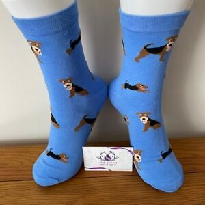 AIREDALE TERRIER DOG FUN SOCKS UNISEX ONE SIZE FIT UK ADULT SHOE SIZE 5 - 11