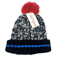 Cat & Jack Childrens Hat OSFM OS Cable Knit Beanie Pom Pom Rolled Cuff Black Red