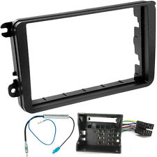 VW FOX 2005 ONWARDS DOUBLE DIN BLACK STEREO FITTING KIT FACIA ADAPTOR PANEL