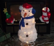 CHRISTMAS OUTDOOR LIGHTED FLUFFY TINSEL SNOWMAN FIGURE TREE CANDY CANE YARD 30""
