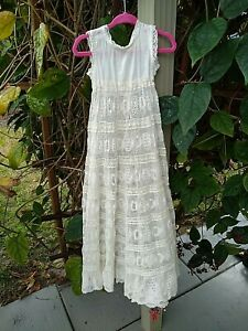 ANTIQUE HAND MADE BABY/DOLL/BEAR GOWN~CHRISTENING~MASSES OF LACE~SLOTTED RIBBON