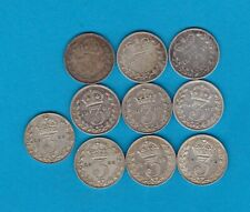 More details for 10 silver three pence dated 1877 to 1925 in good fine or better condition