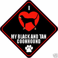 """I Love (Heart) My Black And Tan Coonhound 4"""" Sticker"""