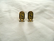 Egyptian Personalized 18K Gold Cartouche Hieroglyphic Post Earrings  (By Order)