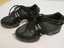 Bloch Jazz Hip Hop Dance Shoes Size Youth 4.5 Black Suede Mesh Split Sole GUC