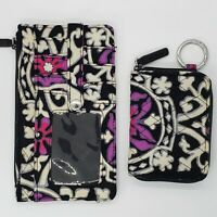 Vera Bradley RFID Ultimate Card Case with Matching Small Wallet Scroll Medallion