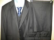 Ralph Lauren Polo Men's Blue Pinstipe Three Piece Suit Blazer 42 S Pants 38 X 27