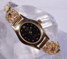 Ladies Black Hills Gold Watch W/ Garnet Stone Accents