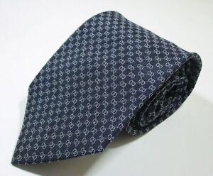 Gucci GG Monogram Logo Link Pattern Blue Color Woven Silk Classic Necktie Tie