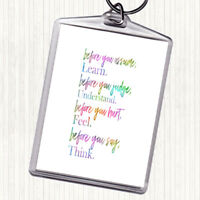 Before You Judge Rainbow Quote Bag Tag Keychain Keyring