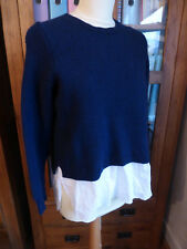 J. Crew navy shirt tail sweater jumper L 12 14 VGC smart casual knit