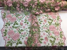 DUSTY ROSE FRENCH FLOWER GARDEN EMBROIDER WITH MULTI COLORS ON A MESH-BY YARD