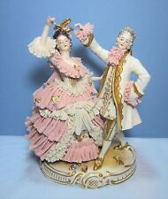 Large German Dresden Lace Porcelain Man & Woman Figurine