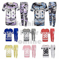New Girls 98 New York Brooklyn Plain Camouflage Print 2 pcs Tracksuit outfit Set