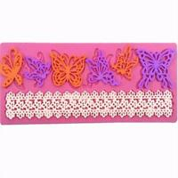 Sugar Lace Butterfly Silicone Embossing Impression Mat Mould Cake Decor MA