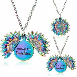 """Colorful """"You Are My Sunshine"""" Open Sunflower Pendant Necklace Choker Women Gift"""