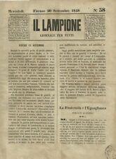 Il Lampione Carlo Collodi Giornale Satirico Risorgimento n°58  20 Settembre 1848
