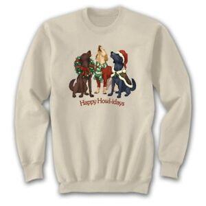 Dog Christmas Sweatshirt S M L XL XXL Happy Howl-idays Unisex New NWT