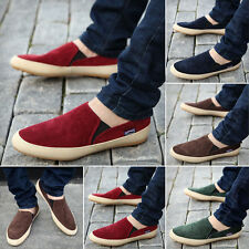 British Style Men's Casual Canvas Sneakers Slip On Loafer Moccasin Zapato Shoes