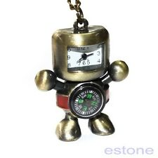 Robot Compass Stainless Steel Pocket Watch Quartz Bronze Chain USA Shipper #21