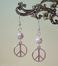 Peace Charm Cream White Stone Bead Dangly Earrings - CND Boho Hippy