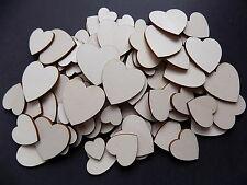 100 x Wooden Love Heart craft shapes 2-4cm 3mm wood plain embelishment decorate