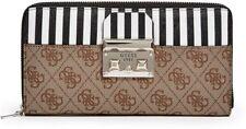 NWT GUESS Martine Clutch Wristlet Wallet Organizer Purse 4G logo print brown