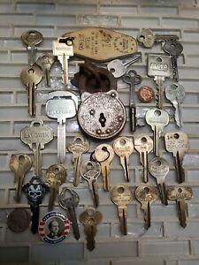 Obsolete vintage unusual keys Corbin padlock & old keyring skeleton, error blank