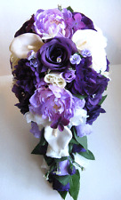 17 piece Wedding Bouquets Silk Flowers Bridal PURPLE Burlap CALLA lily LAVENDER