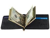 Mens Wallet Bifold Genuine Leather RFID Blocking Slim Wallets with Money Clip