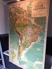 HUGE Vintage School Wall Map South America 1957 George Philip