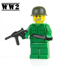 US Army WW2 minifigure Soldier made with real LEGO® Grease Gun