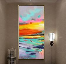 Large Abstract oil painting Hand-painted on canvas Color art (No Frame 24x48in)