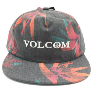 Volcom Youth Boys Verano Stone Snapback Hat Black and Red w Print One Size NWT