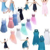 Kids Girls Latin Ballet Leotard Dress Lyrical Dance Tulle Skirt Fairy Costume