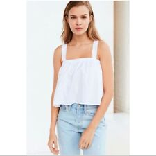 UO Kimchi Blue White Cotton Crop Tie Back Top Swing Sun New with Tags L