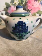 M A Hadley Country Teapot w/ Blueberry Bouquet Blue Green Small 2 Cup