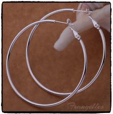925 Sterling Silver 50mm Smooth Large Hoop Earrings Gift UK SELLER 5cm Hooped