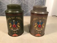 Jacksons Of Piccadilly Tea Tin Vintage Tea Canister Green Tan Utile Dulci Vtg