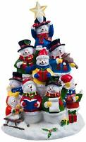 San Francisco Music Box Factory Snowman Tree Lighted Figurine