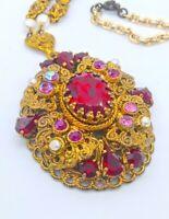 Vintage West Germany Filigree Pendant Necklace! Gorgeous Red Rhinestones! Signed