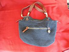 Large Navy Blue Knit Leather Braid handle Hobo The Sak shoulder bag purse EUC