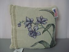 """USA NWT Hibiscus Tropical Floral Orchid 17"""" x 17"""" Tapestry Throw Pillow #161"""