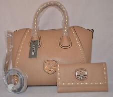 GUESS Garland Satchel Shoulder Bag Purse Tote Wallet Checkbook Set Cognac Black