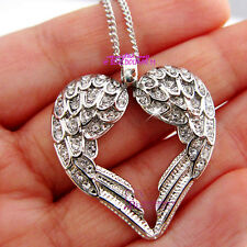 Solid 18k White Gold GF Angel Wings Necklace Pendant Women Girl Cyrstal Diamond