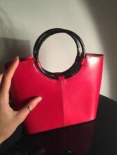 Daniela Moda Gun Metal Colour Ring Grab Red Genuine Italian Leather Handbag