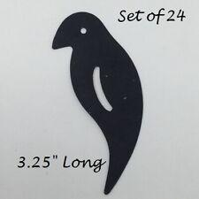 "Primitive Black Metal Crow Cutouts Flat 24 pcs 3.25"" Long Halloween Fall Rustic"