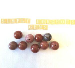 9 Pretty Round Portuguese Agate Gemstone Beads - 10 mm