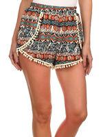 Womens Hight Waisted Casual Shorts Tassel Festival Tribal Beach Pants S M L XL